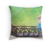 Chipmunk in Blue Bowl Throw Pillow
