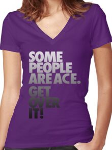Some People Are Ace - Gray Scale Women's Fitted V-Neck T-Shirt