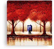 Blue Phone Box Cloud Canvas Print