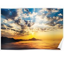 Sea of clouds on sunrise Poster