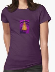 Abstract Golden Christmas Tree On Purple Background T-Shirt