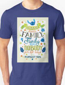 Lilo and Stitch Ohana Typography Quote T-Shirt