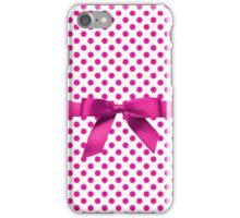 Pink Polkadot Ribbon iPhone Case/Skin
