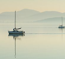 Passing Yachts, Passignano sul Trasimeno, Umbria by Andrew Jones