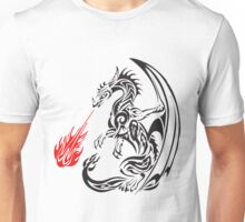 tribal dragon blasting fire Unisex T-Shirt
