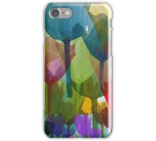 Tulip Flowers, Plant Stems - Blue Red Green Yellow iPhone Case/Skin
