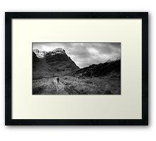 Walker in Glen Coe in black and white Framed Print