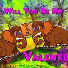 Woolly Mammoth Babies Inviting Each Other to be Their Valentine by Dennis Melling