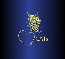 """I-phone case """"Catlovers"""" Chromium gold edit by scatharis"""