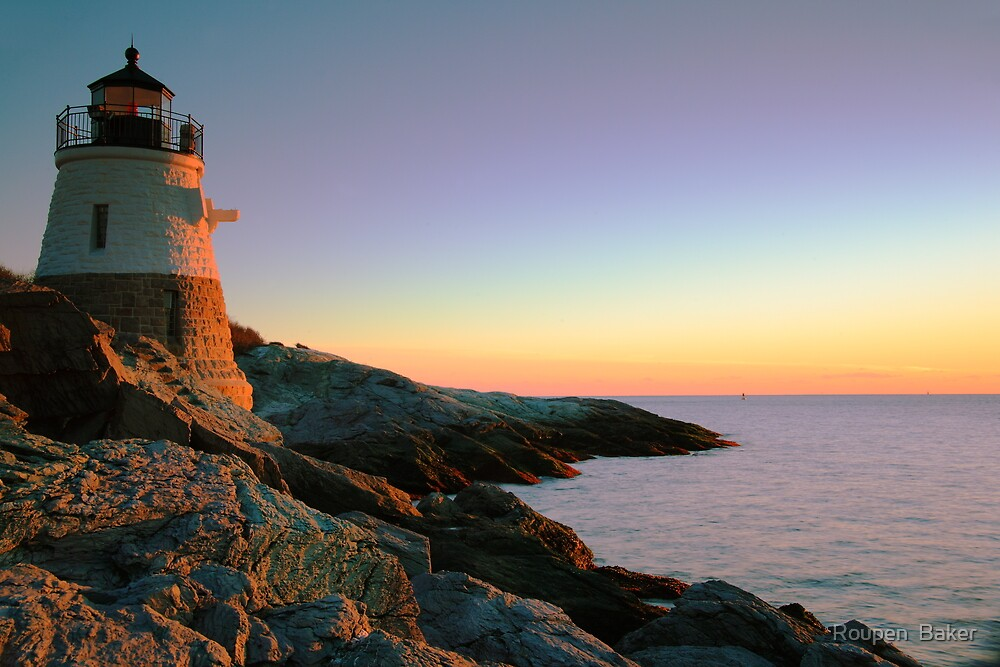 Evening at Castle Hill Lighthouse by Roupen  Baker