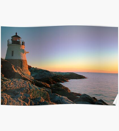 Evening at Castle Hill Lighthouse Poster