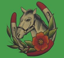 Traditional Horse and Horse Shoe Kids Tee