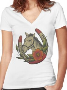 Traditional Horse and Horse Shoe Women's Fitted V-Neck T-Shirt