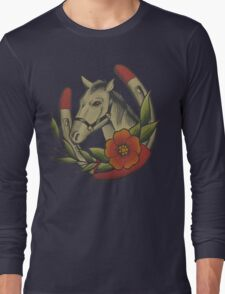 Traditional Horse and Horse Shoe Long Sleeve T-Shirt