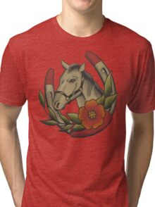 Traditional Horse and Horse Shoe Tri-blend T-Shirt
