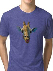"""I Don't Care"" Giraffe Card Tri-blend T-Shirt"