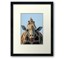 """""""I Don't Care"""" Giraffe Card Framed Print"""