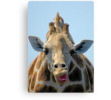 """""""I Don't Care"""" Giraffe Card Canvas Print"""