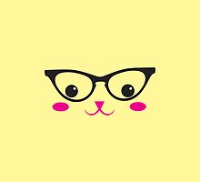 Cute kitten catty with glasses kawaii by jazzydevil