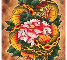 Snake and Peony Flower by MikeFrench