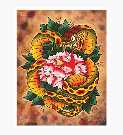 Snake and Peony Flower Photographic Print
