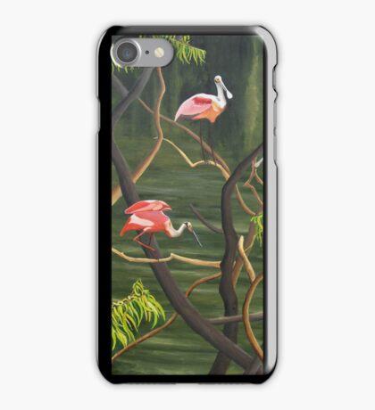 "99. ""Spoonbills Roosting in High Island, Texas."" iPhone Case/Skin"