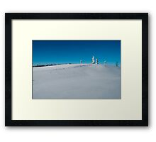 Buddha Standing On The Hill In The Snow Framed Print