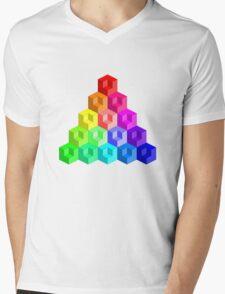Cube Rainbow - Pyramid Mens V-Neck T-Shirt
