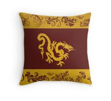 Chinese Mythology Dragon, Ornaments - Red Gold Throw Pillow
