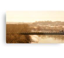 semi on a bridge Metal Print