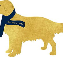 Preppy Golden Retriever - Navy Winter Scarf by emrdesigns