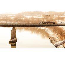 semi on a bridge Photographic Print