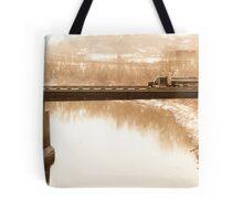 semi on a bridge Tote Bag