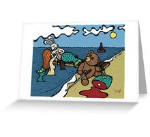 Teddy Bear And Bunny - Lying To Women Greeting Card