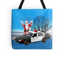 HO HO HOLD ON SEASONS GREETING HUMEROUS POLICE SANTA PILLOW AND OR TOTE BAG Tote Bag