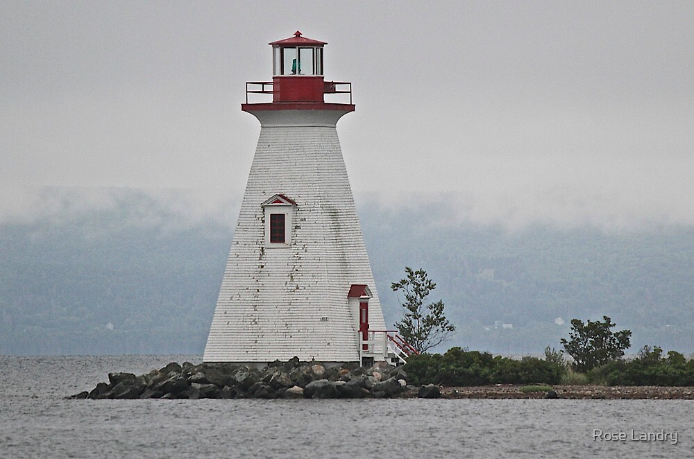 Lighthouse in Bras D'Or Lakes Nova Scotia by Rose Landry