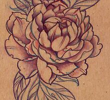Blowsy Peony Pencil Drawing by Helen Aldous