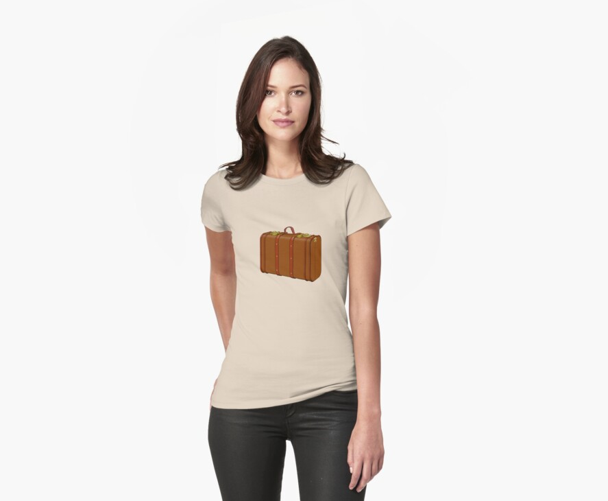 explore life old suitcase vacation tee  by Tia Knight