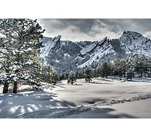Flatirons Journey - First Tracks Photographic Print