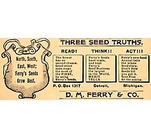 Vintage Detroit D. M. Ferry Seed Ad Photographic Print