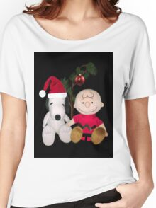 SNOOPY & CHARLIE BROWN FESTIVE CHRISTMAS-JOURNAL.. PICTURE AND OR CARD ECT Women's Relaxed Fit T-Shirt