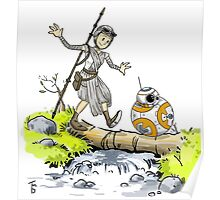 bb-8 and rey calvin and hobbes Poster