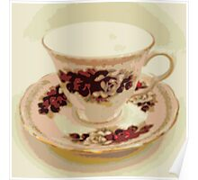 Pink and Red Roses Vintage Teacup Still Life Photography  Poster