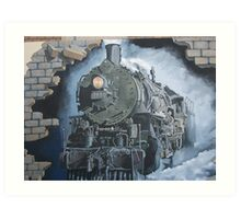 Broken Hill mural train stn, Geoff De Main Art Print