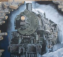 Broken Hill mural train stn, Geoff De Main by Heather Dart