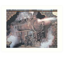 Broken Hill mural, train stn, Geoff De Main Art Print