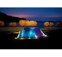 Illuminated tent on dam Photographic Print