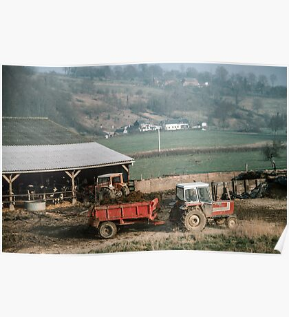 Farmer taking manure from animal shed Les Hazons 19840215 0015 Poster