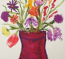 Flowers in Red Vase by Cindy Lawson