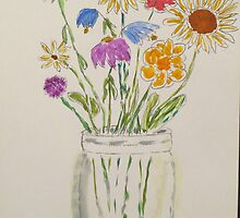 Mason Jar of Flowers by Cindy Lawson